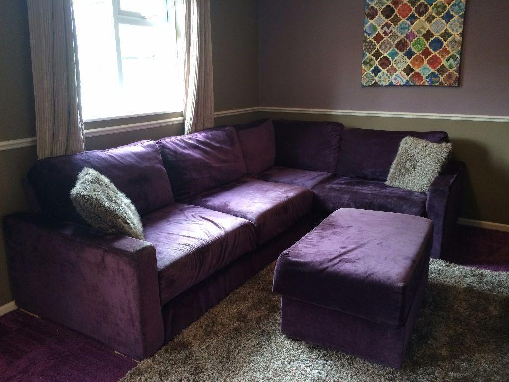 Large Purple Corner Sofa Bed -- Urgent Sale! | United Kingdom