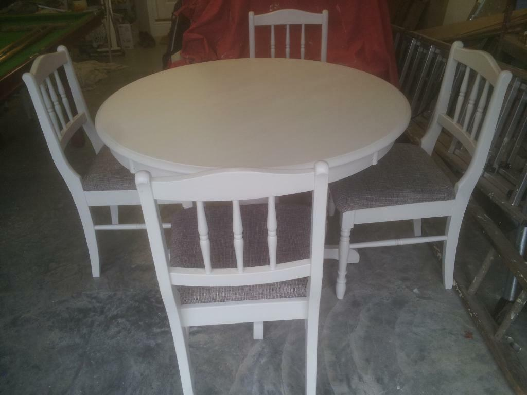 Images map for Painted round dining table and chairs