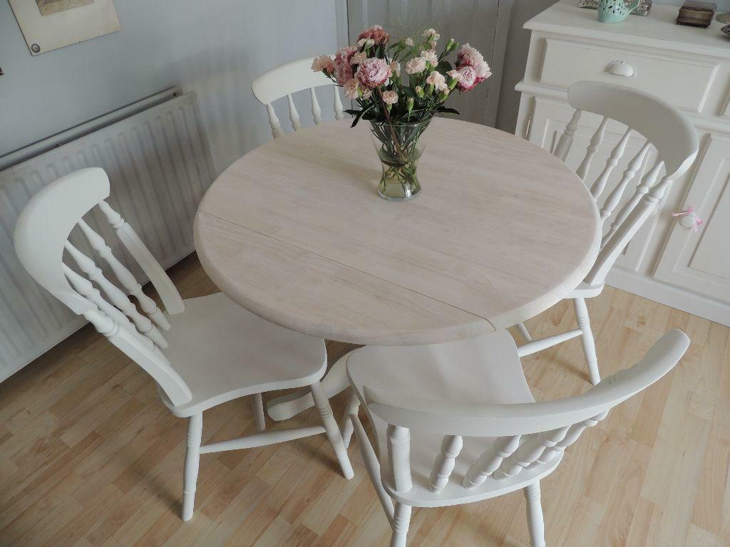 Beautiful shabby chic solid pine folding round table and four chairs by eclectivo united - Shabby chic round dining table and chairs ...