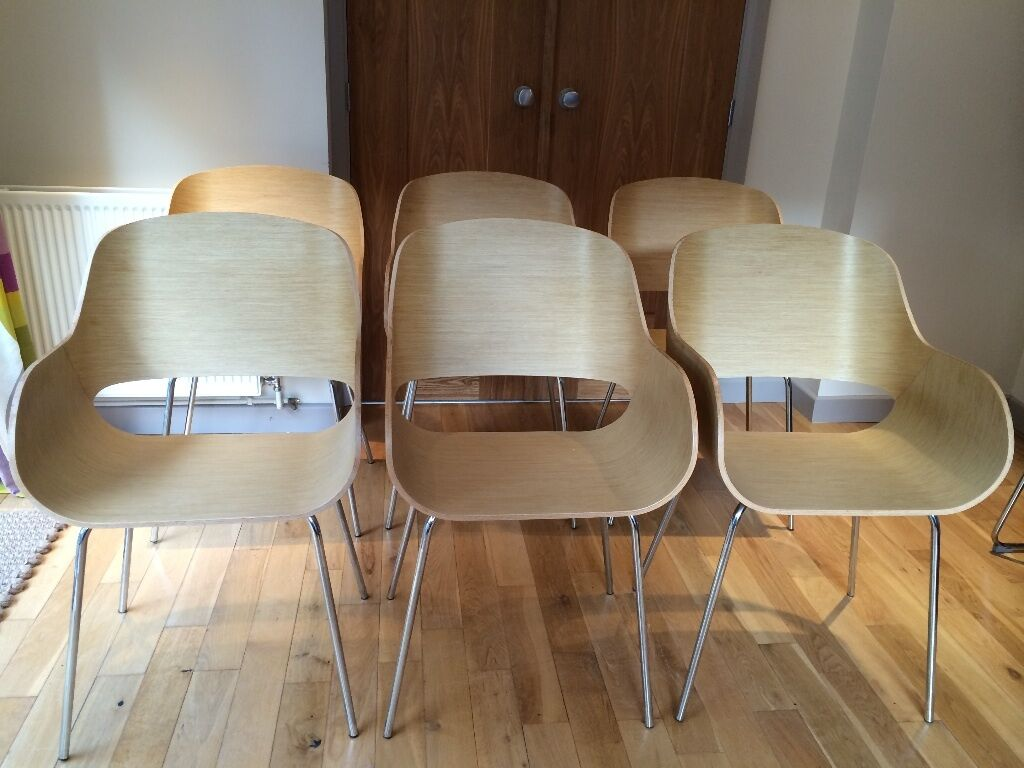 4 contemporary beech veneer style bucket dining chairs