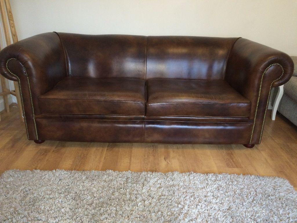 Chesterfield Sofa Genuine Leather Very Good Condition United Kingdom Gumtree