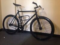 custom black single speed road bike fixie or free wheel with quality d-lock first to see will buy
