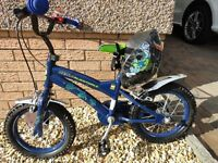Kid's Ben 10 Alien Force bike, 14 inch wheels, complete with Ben 10 helmet, great condition
