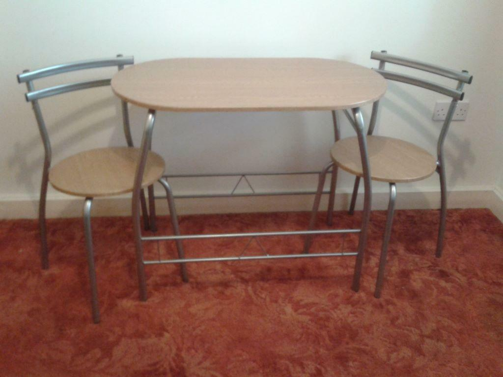table and two chairs - Wood effect and chrome compact dining table ...