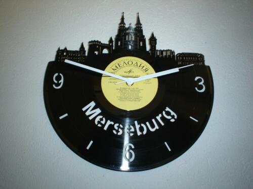 wanduhr schallplatte uhr skyline merseburg souvenir mbi. Black Bedroom Furniture Sets. Home Design Ideas