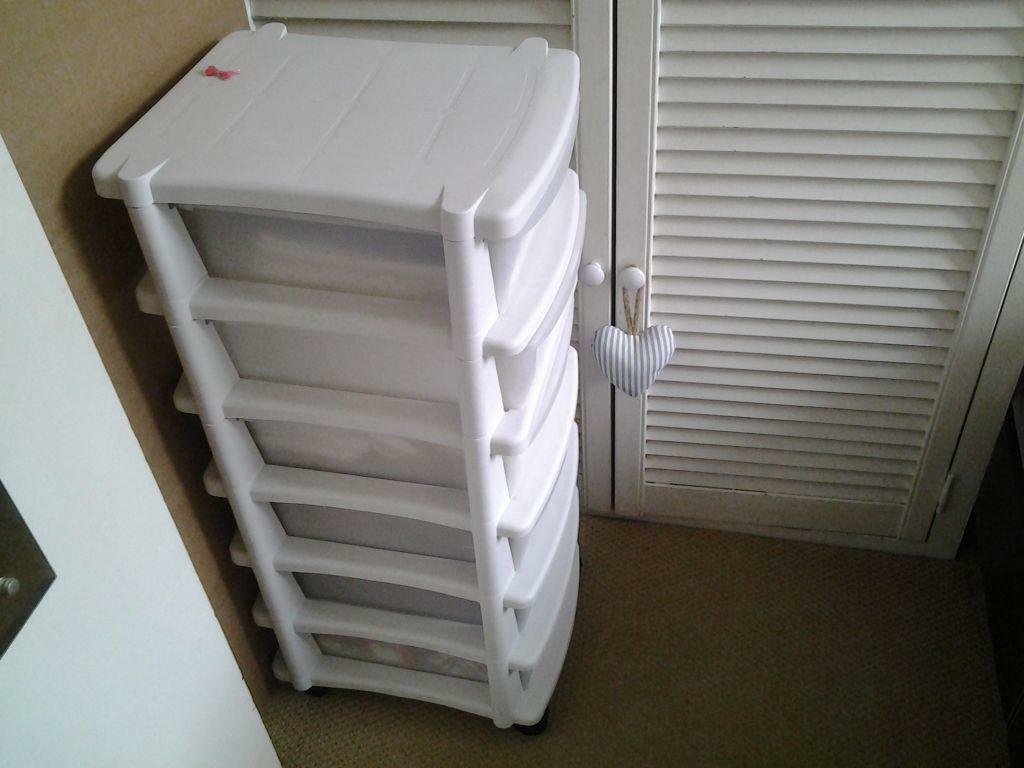 6 Drawer Plastic Slim Tower Storage Unit White United