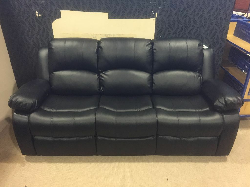 august special sale black leather recliner sofa set 3 2 1 brand new