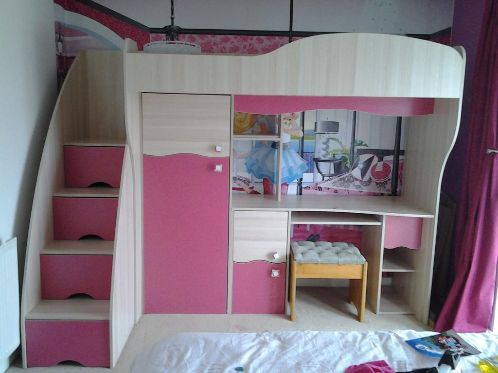 kids cabin bed with wardrobe drawer and desk united
