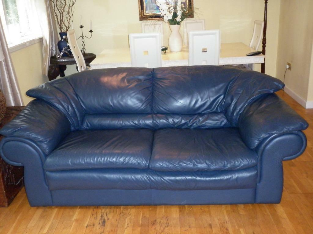 Two Navy Blue Full Leather Sofas 1 X 3 Seater And 1 X 2