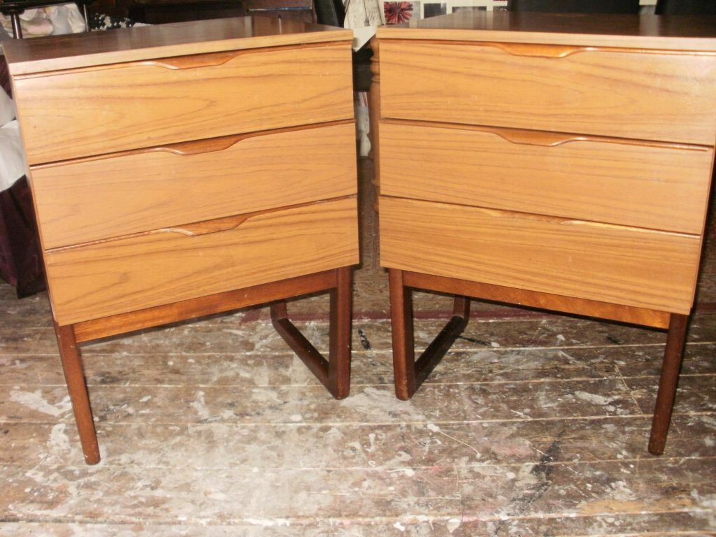 Vintage teak pair of chest of drawers bedside eurpopa for Furniture 66 long lane liverpool