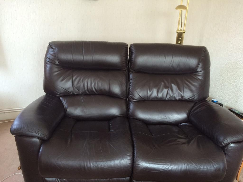 Lazy Boy Sofa Brown Soft Leather 2 Seater With Recliners