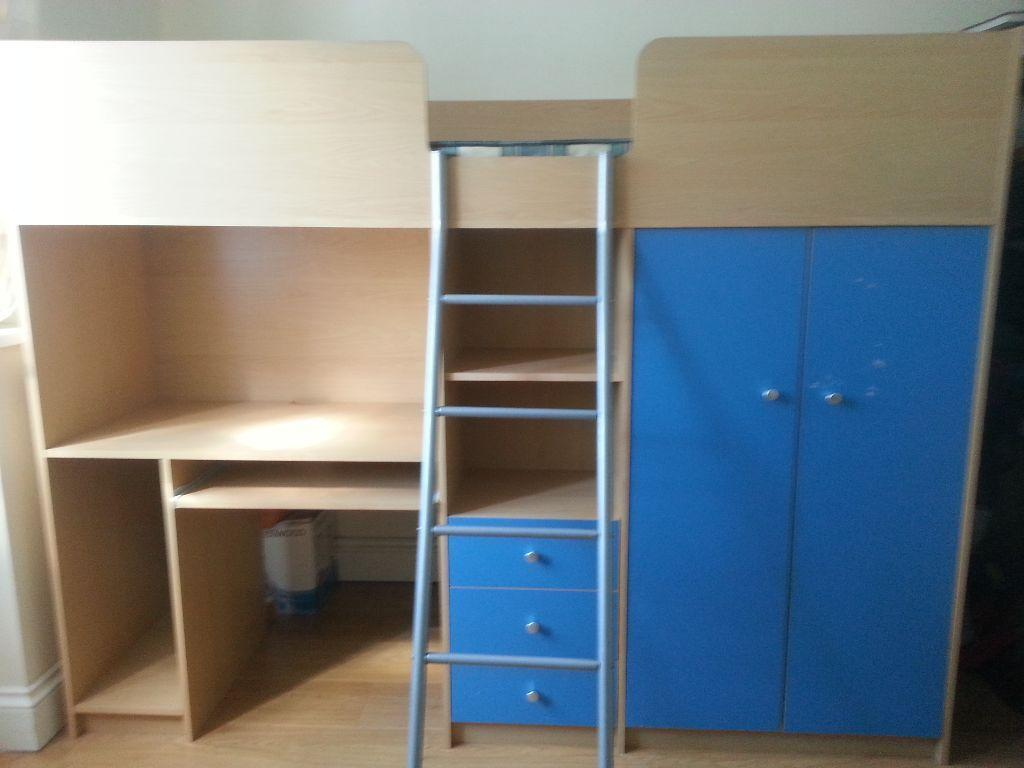 Single High Sleeper Bed Frame With Wardrobe And Desk