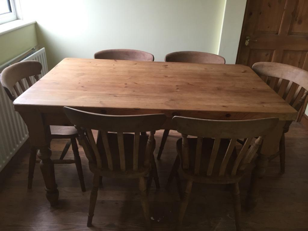 solid pine farmhouse table and 6 chairs united kingdom gumtree