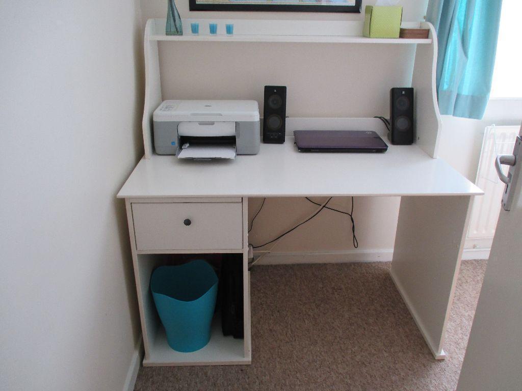 large white desk with top shelf united kingdom gumtree. Black Bedroom Furniture Sets. Home Design Ideas