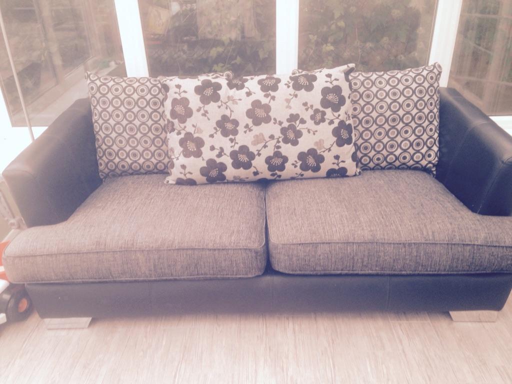 Black Leather/Fabric 3 Seater plus Snuggle Chair | United Kingdom