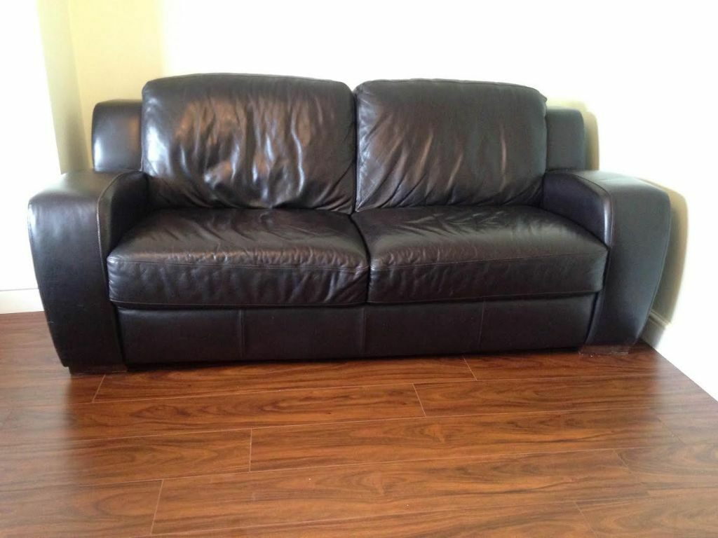 Leather 3 Seater Sofa And 2 Matching Arm Chairs United