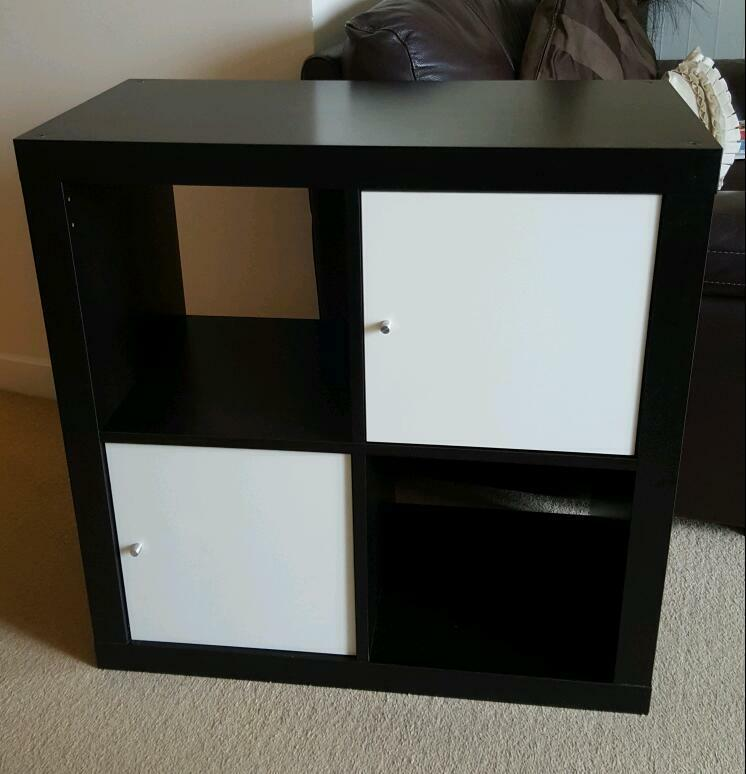 Ikea black brown box square shelving unit with white for Ikea box shelving unit