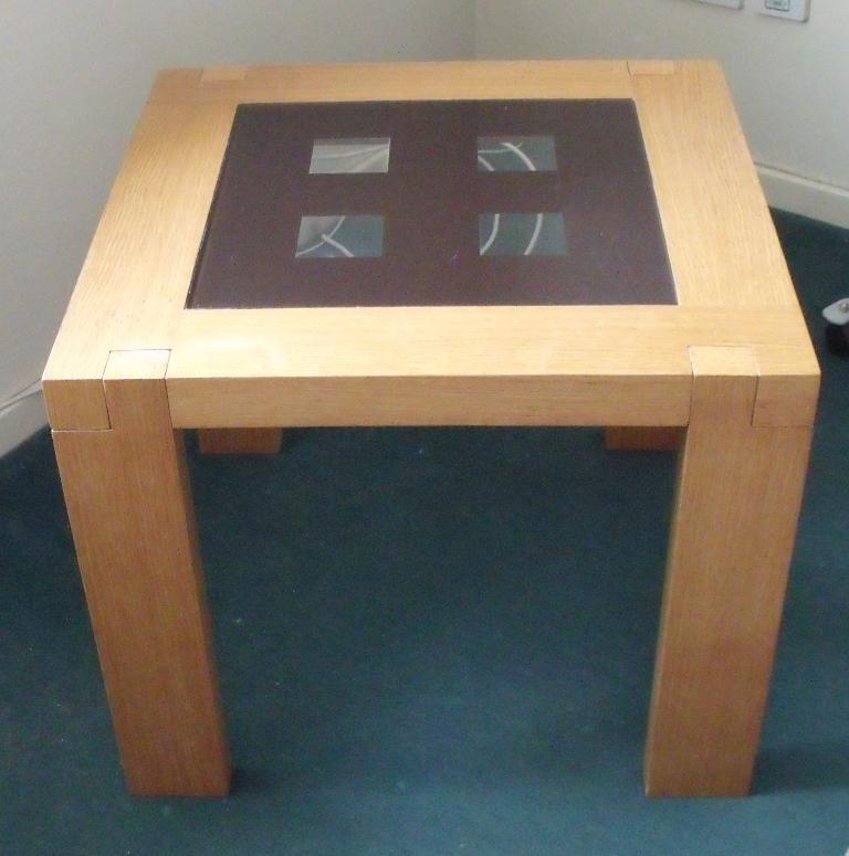 Oak effect square side table coffee table with part glass for Coffee tables gumtree