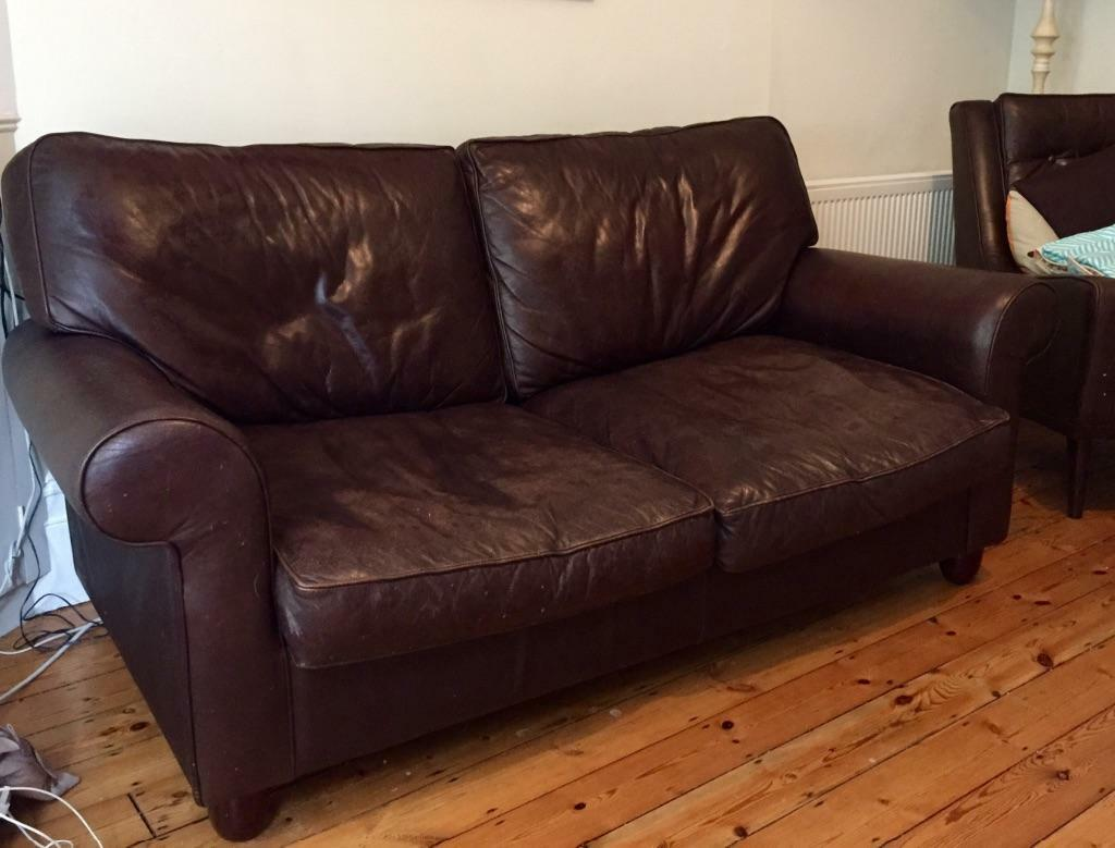 Laura ashley chocolate brown leather abingdon sofa bed for Ashley leather sofa bed