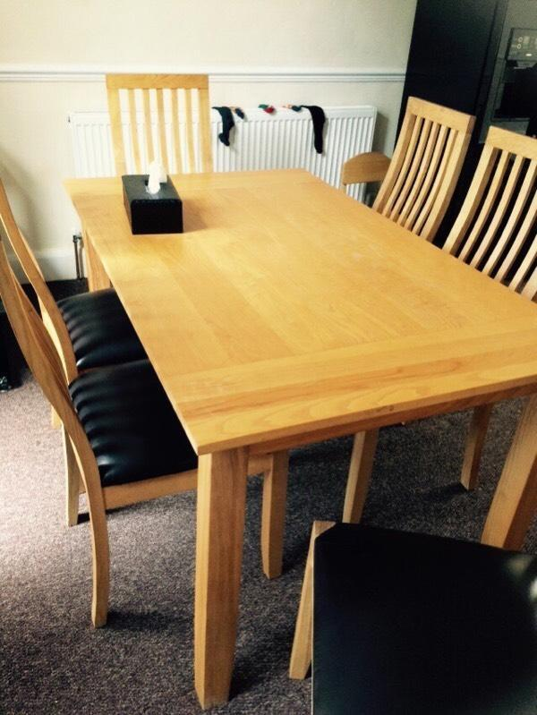 Wood dining table with 6 chairs United Kingdom Gumtree : 86 from gumtree.com size 600 x 799 jpeg 67kB