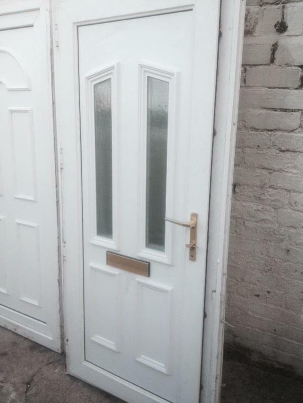 Upvc double glazed front door 2 keys patterned glass shed for Double glazed french doors for sale