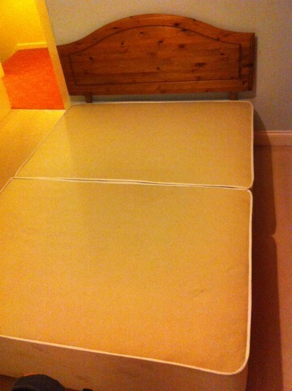 double divan bed base with 4 drawers and wooden headboard