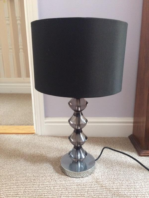 Bedside table lamp and shade black united kingdom for Bedside table lamp shades