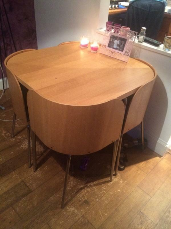 ikea oak dining table and 4 chairs united kingdom gumtree