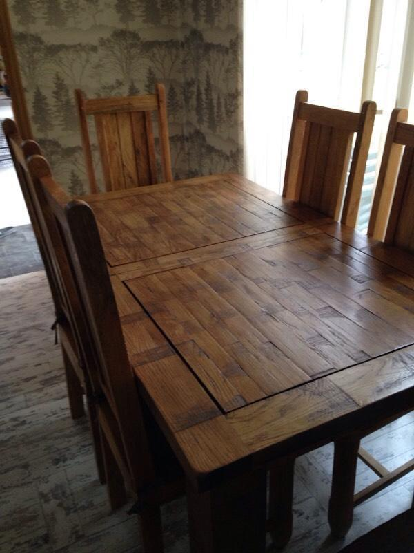 Rustic solid oak dining table amp six chairs United  : 86 from www.gumtree.com size 600 x 800 jpeg 56kB