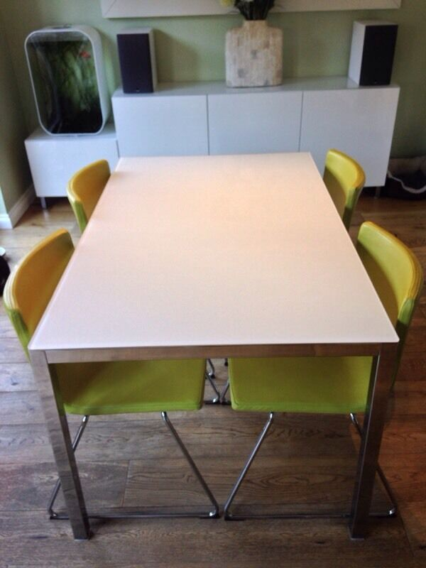 GLASS FROSTED CHROME TABLE amp 4 GREEN UPHOLSTERED CHAIRS  : 86 from gumtree.com size 600 x 800 jpeg 49kB