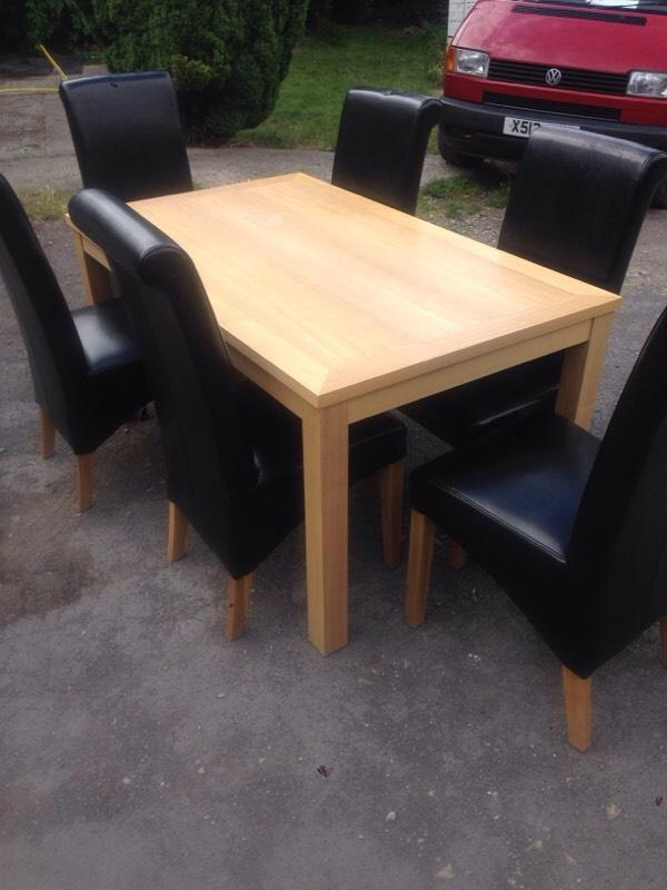 Dining Table 6 Leather Chairs United Kingdom Gumtree