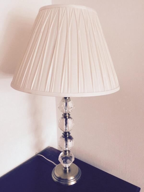 Glass Crystal Ball Table Lamp With Laura Ashley Silk White