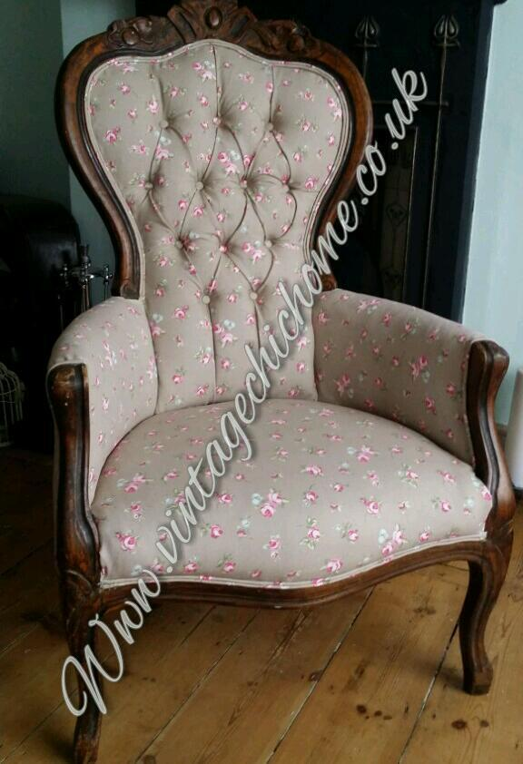 Reupholstered arm chair shabby chic country antique for Reupholstered chairs for sale