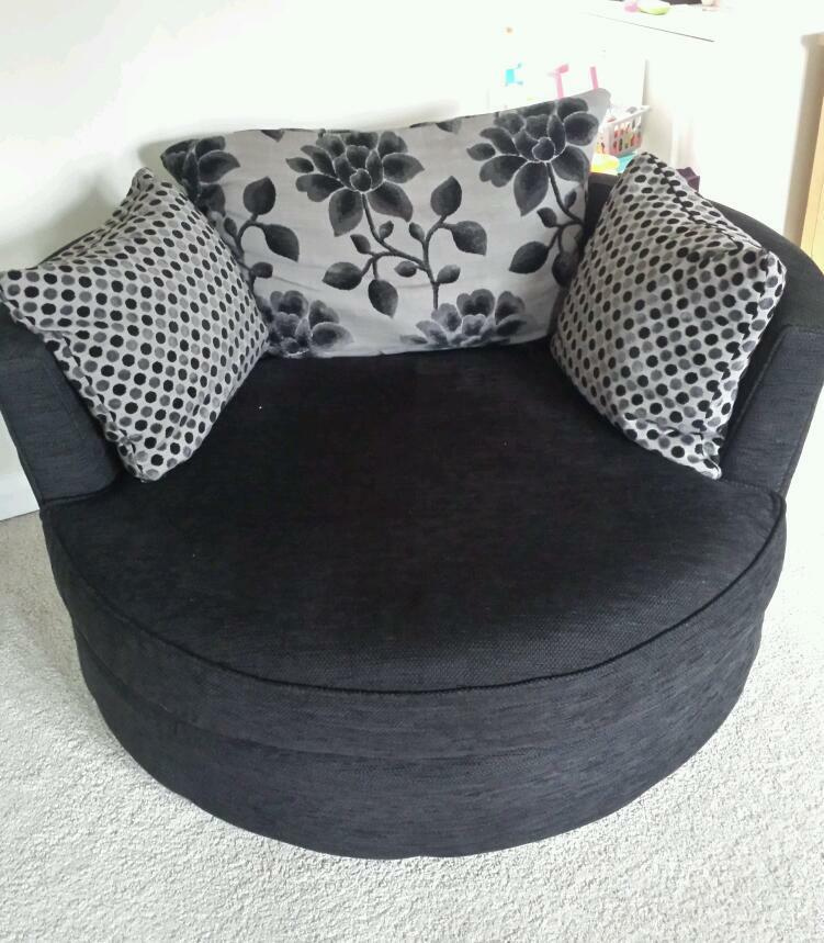 3 Seater Black Fabric Dfs Sofa With Taupe Plus Matching