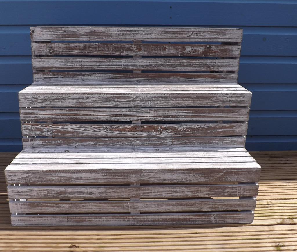 rustic wooden 3 tier step display shelves united kingdom. Black Bedroom Furniture Sets. Home Design Ideas