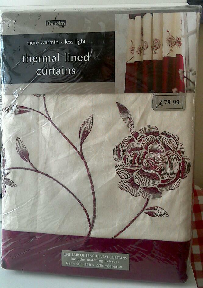 DUNELMS THERMAL LINED CURTAINS SIZE 66 X 90 NEW AND
