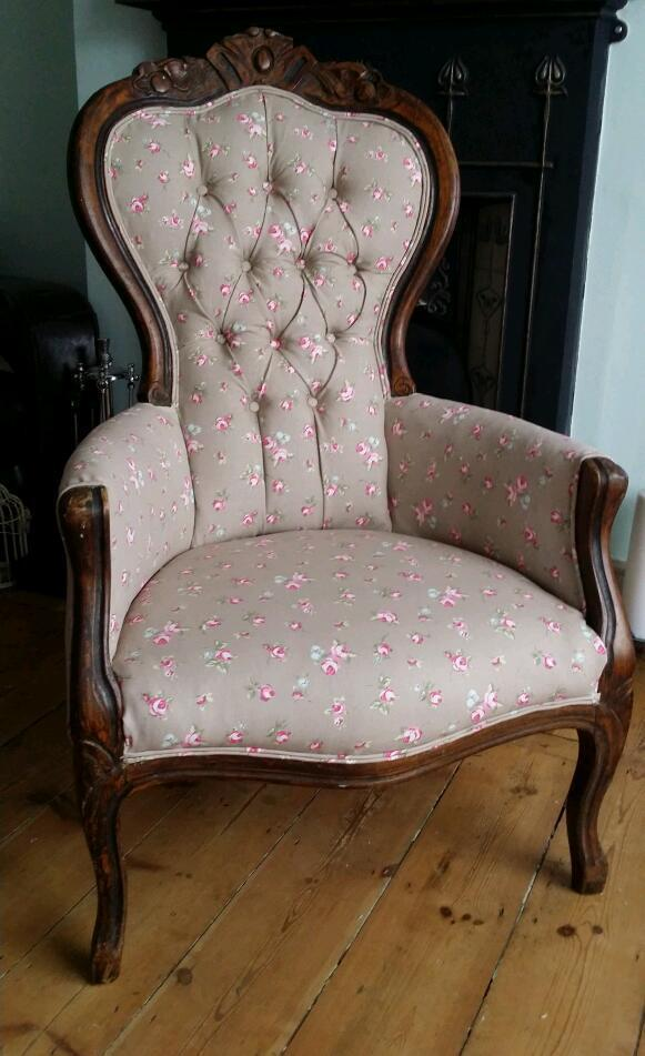Beautiful antique chair reupholstered united kingdom for Reupholstered furniture for sale