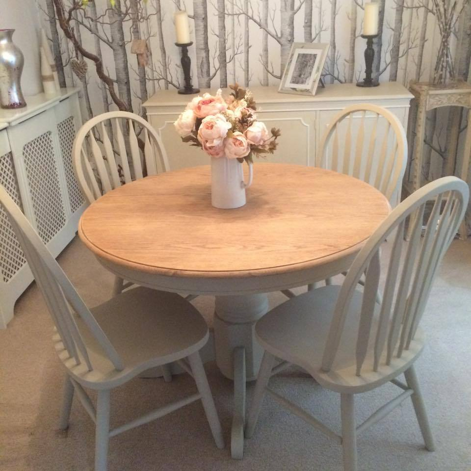 oak dining table 4 chairs professionally refurbished by