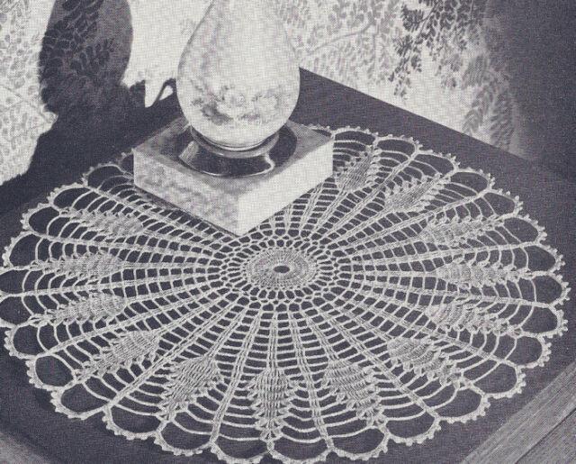 Vintage Crochet Pattern Pineapple Sundial Doily Mat Ebay