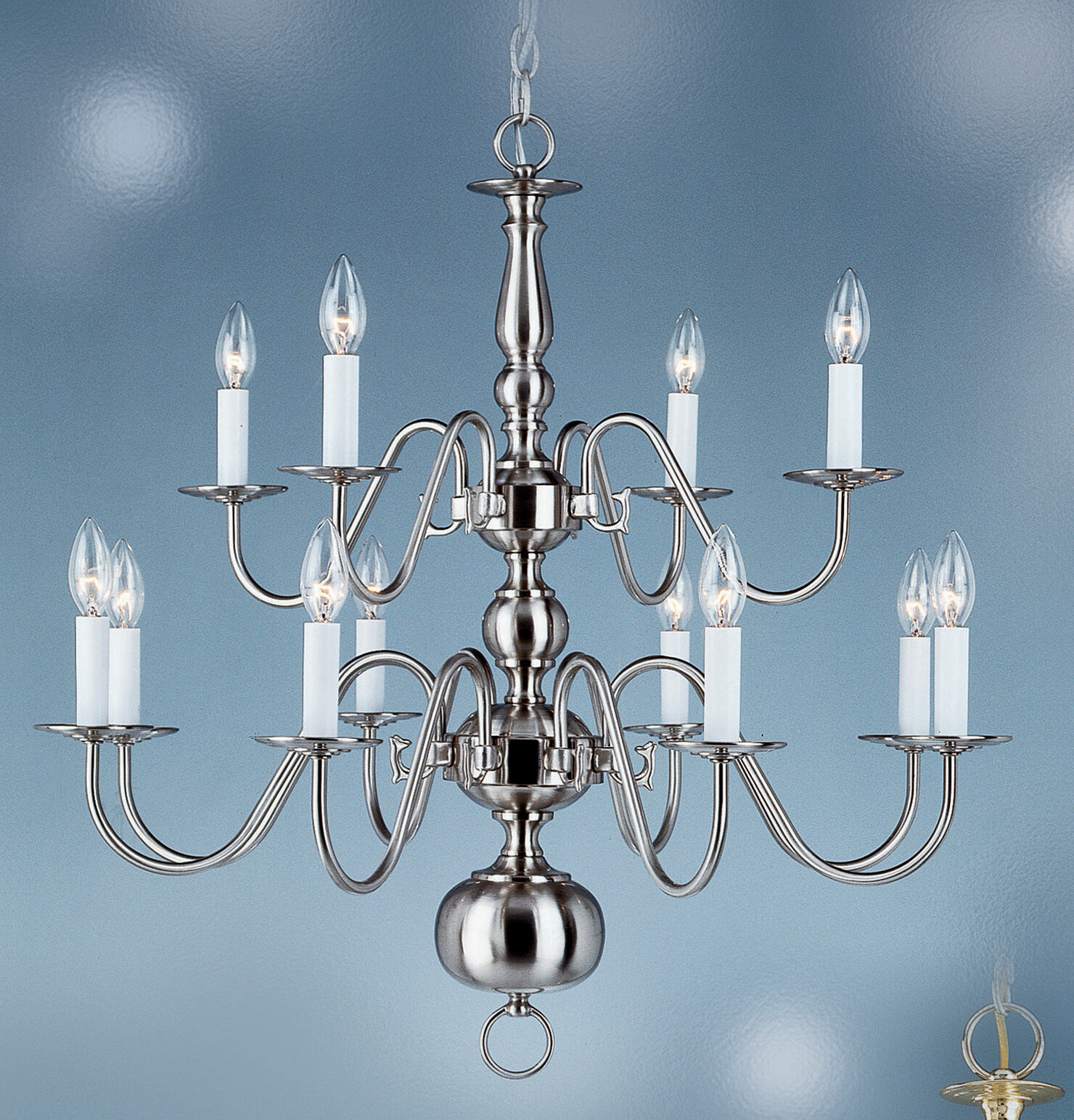 Williamsburg chandelier 12 lights brushed nickel 8140 bn ebay picture 1 of 1 arubaitofo Choice Image