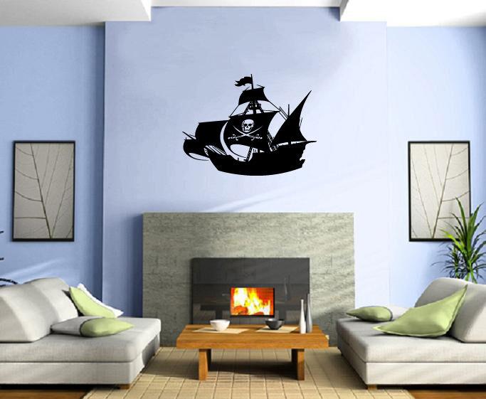 Pirate Ship Silhouette Skeleton on The Sail Ocean Carribian Sea ...