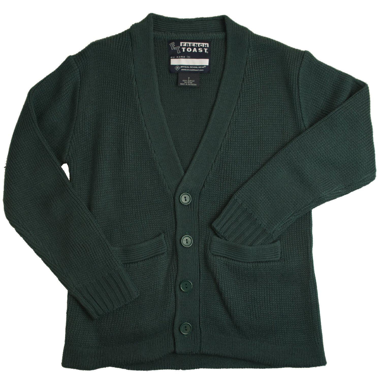 Hunter Green V-neck Cardigan Sweater French Toast School Uniform ...