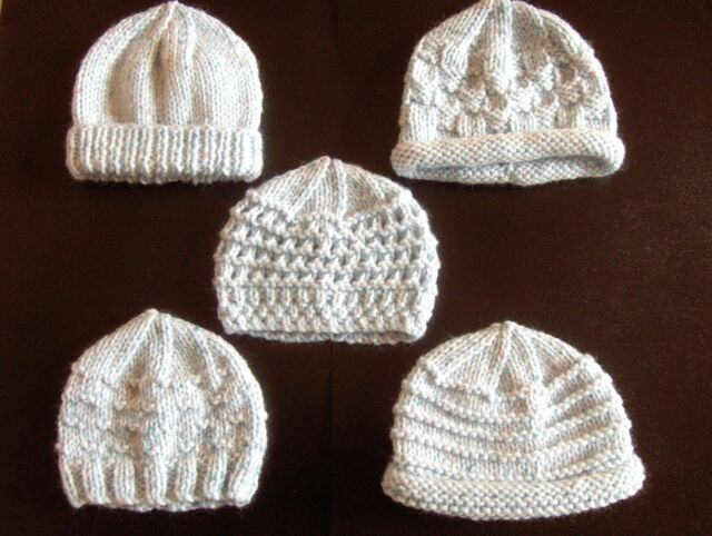 Premature Small Baby Knitting Pattern For 5 Hats Ebay