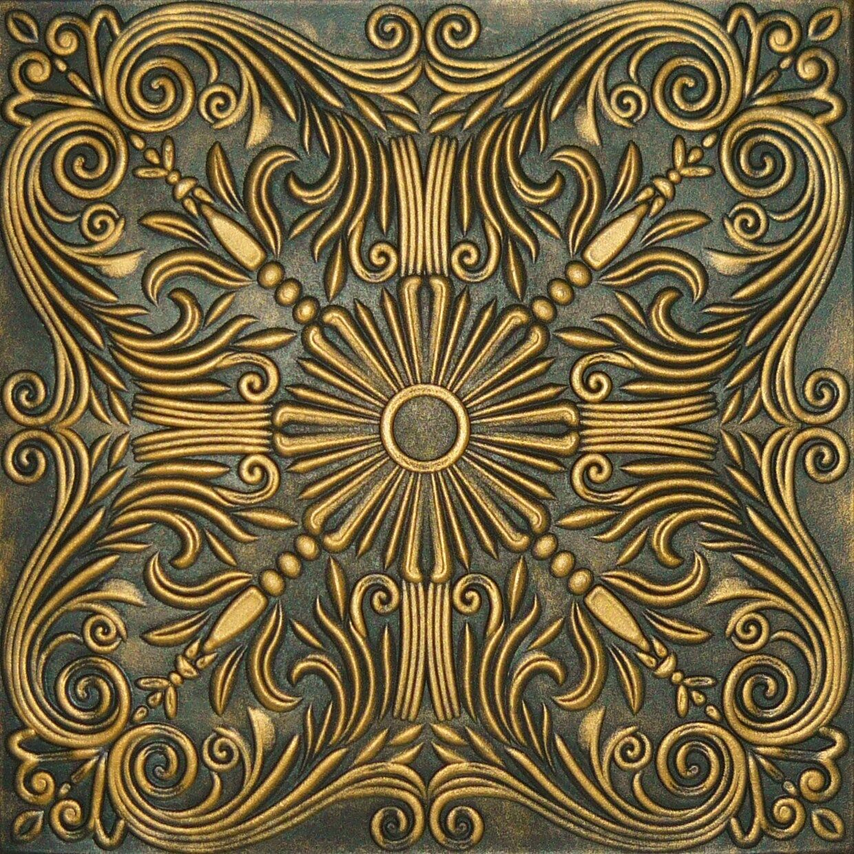 Faux Finish Styrofoam Ceiling Tile R39 Black Gold Just Glue Up Ebay