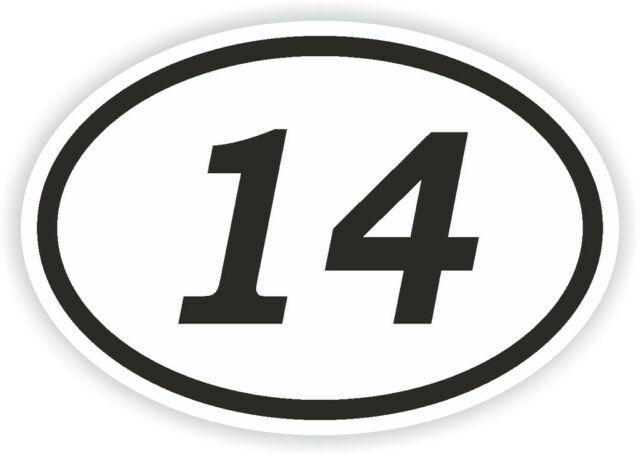 14 fourteen number oval sticker bumper decal car motocross motorcycle aufkleber
