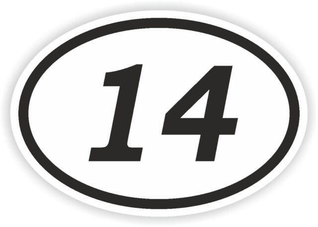 14 fourteen number oval sticker bumper decal car motocross motorcycle aufkleber