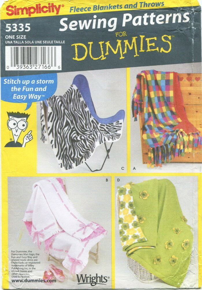 Simplicity 5335 Sewing Pattern For Dummies Fleece Blankets And