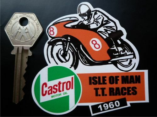 TT Races Castrol Style Helmetmotorcycle Sticker EBay - Motorcycle stickersmotorcycle stickers ebay