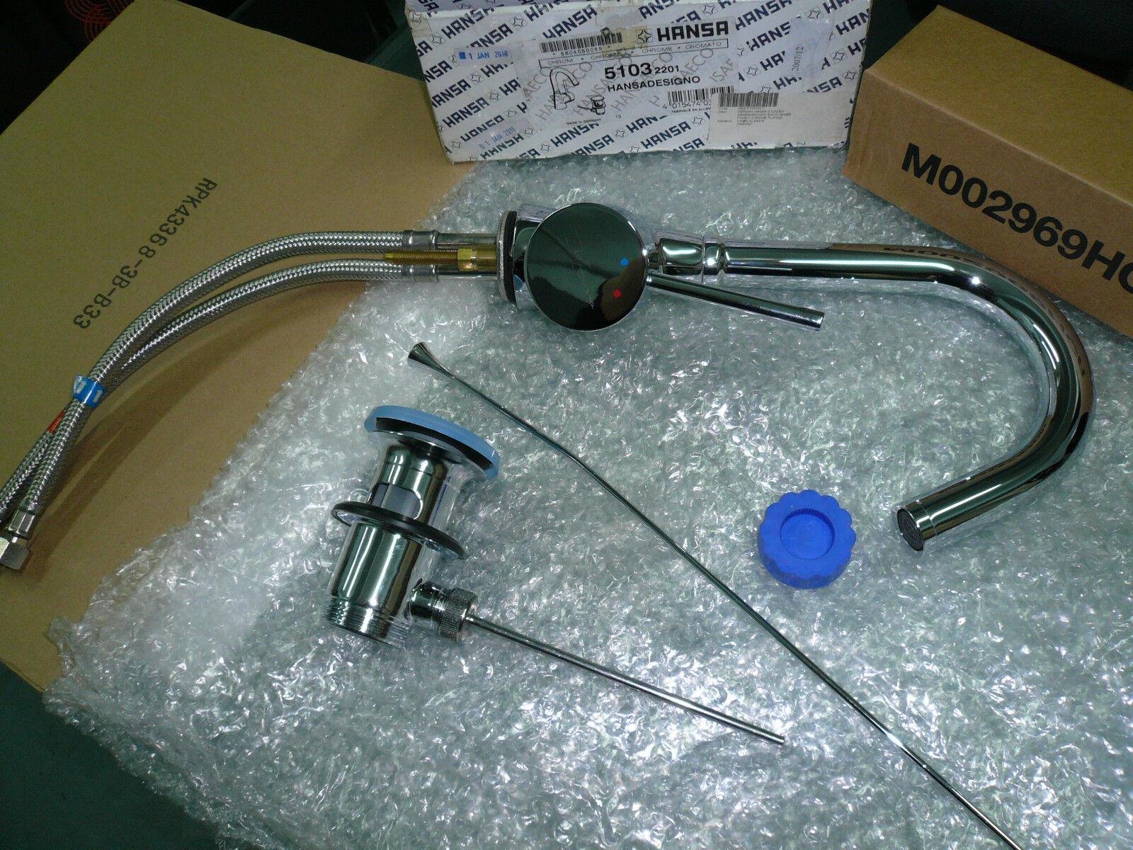 Hansa HANSADESIGNO 51032201 Single Lever Swivel Spout Basin Mixer W ...