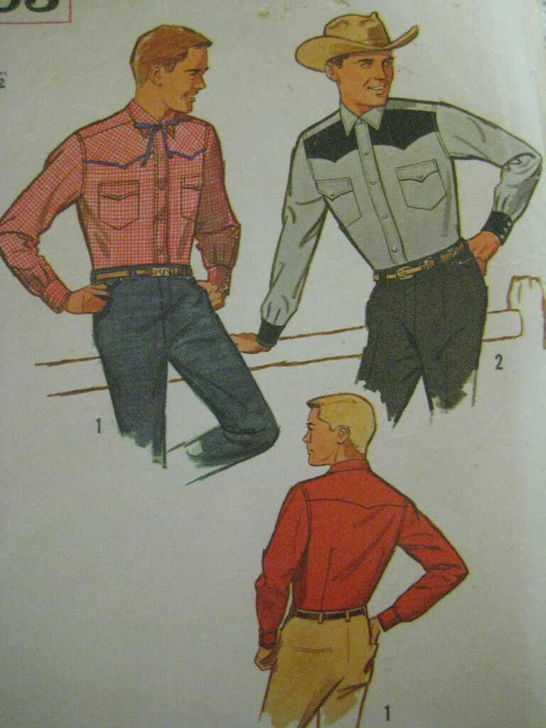 Vintage 60s simplicity 4703 mens western shirt sewing pattern picture 1 of 6 jeuxipadfo Images